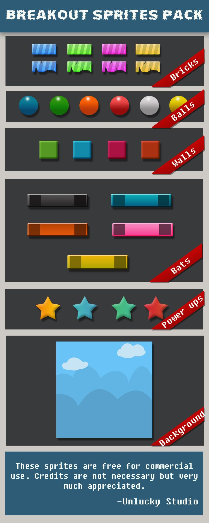Download Free games sprites Breakout game sprite pack