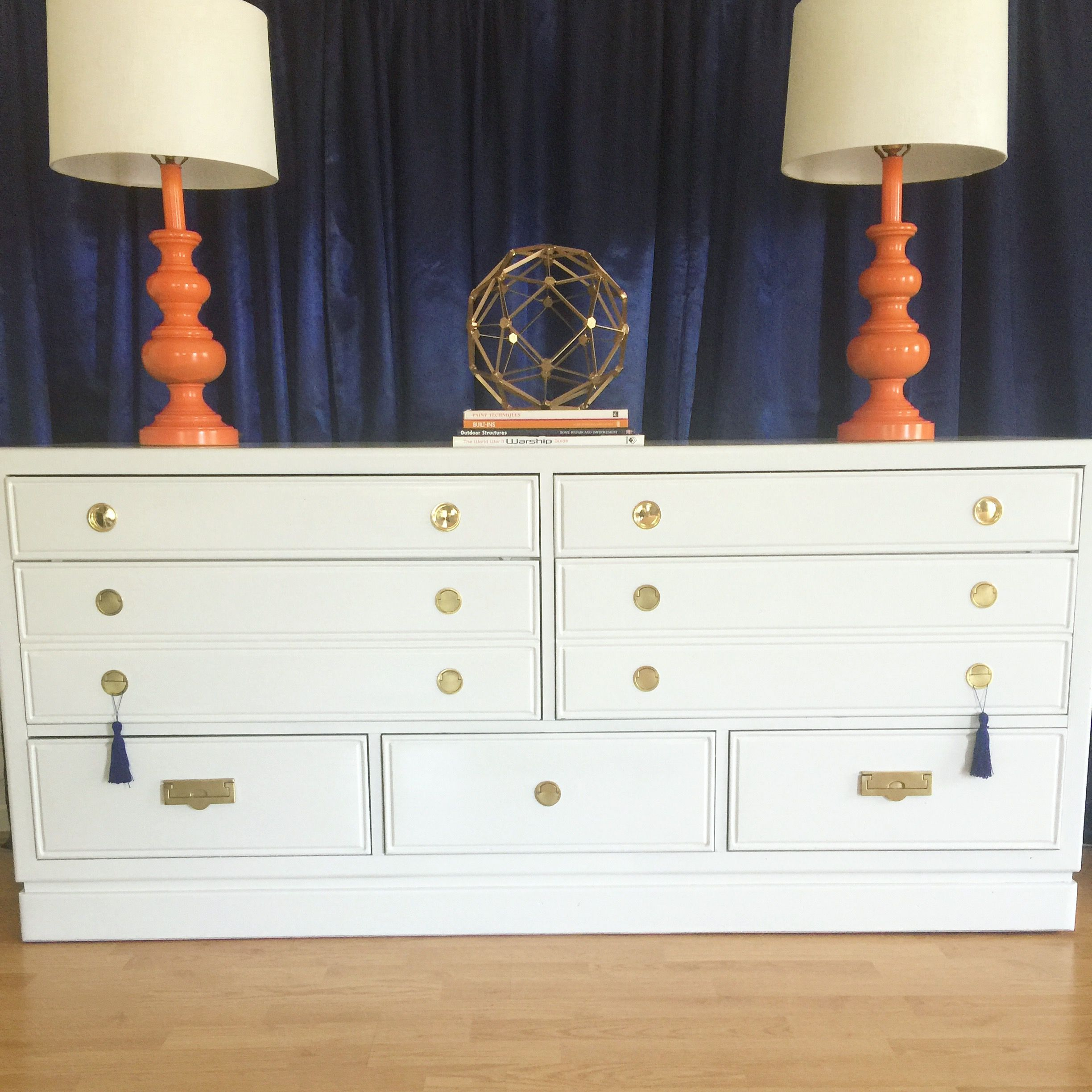 Thomasville Campaign Dresser Refurbished In High Gloss White Bedroom Decor Diy Bedroom Decor Campaign Dresser