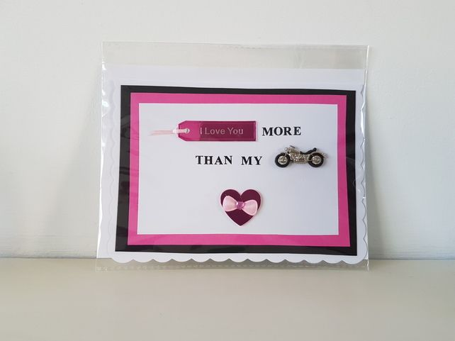 Handmade card for the motorbikers wife,partner £3.50