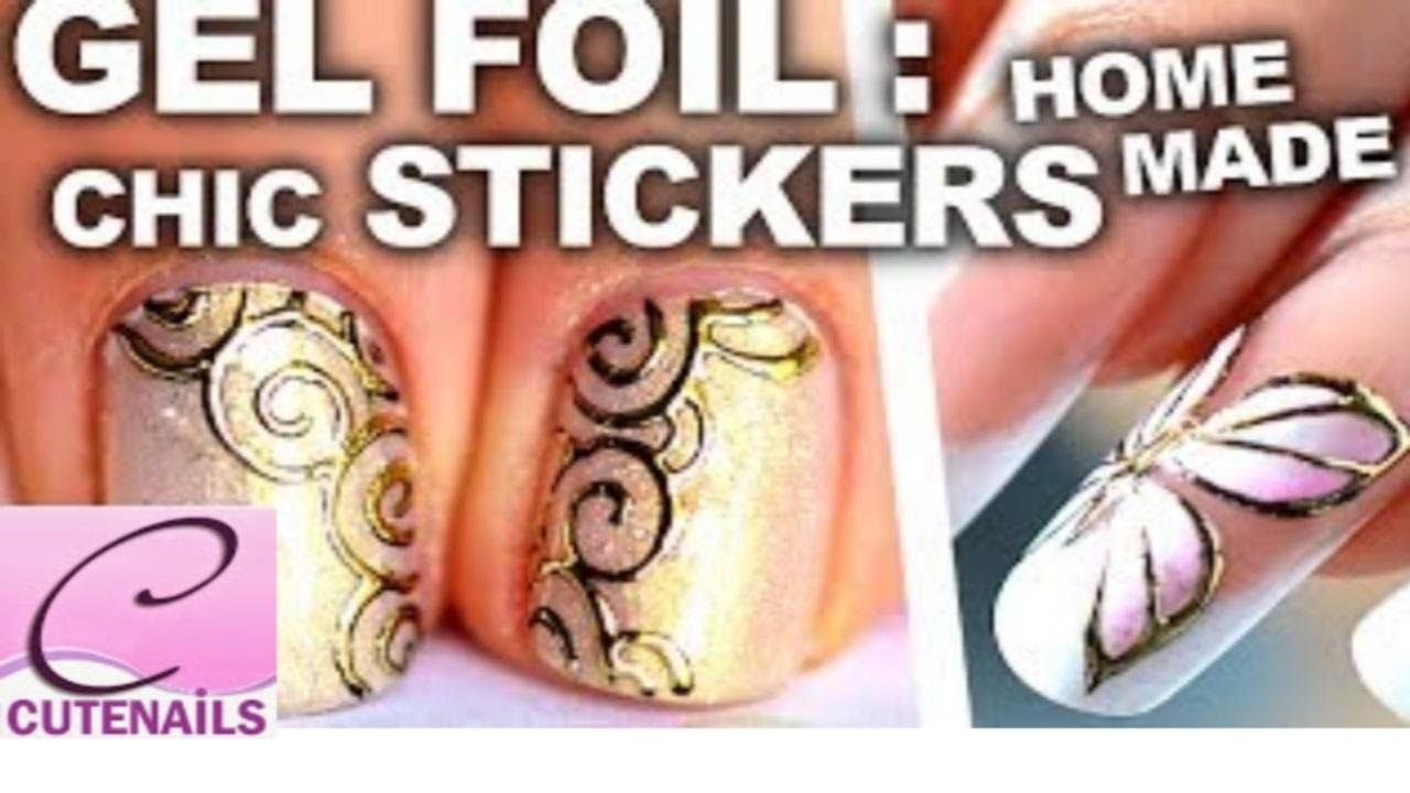 Gold Nail Art Gel Foil Butterfly Spiral Youtube Nail Art Designs
