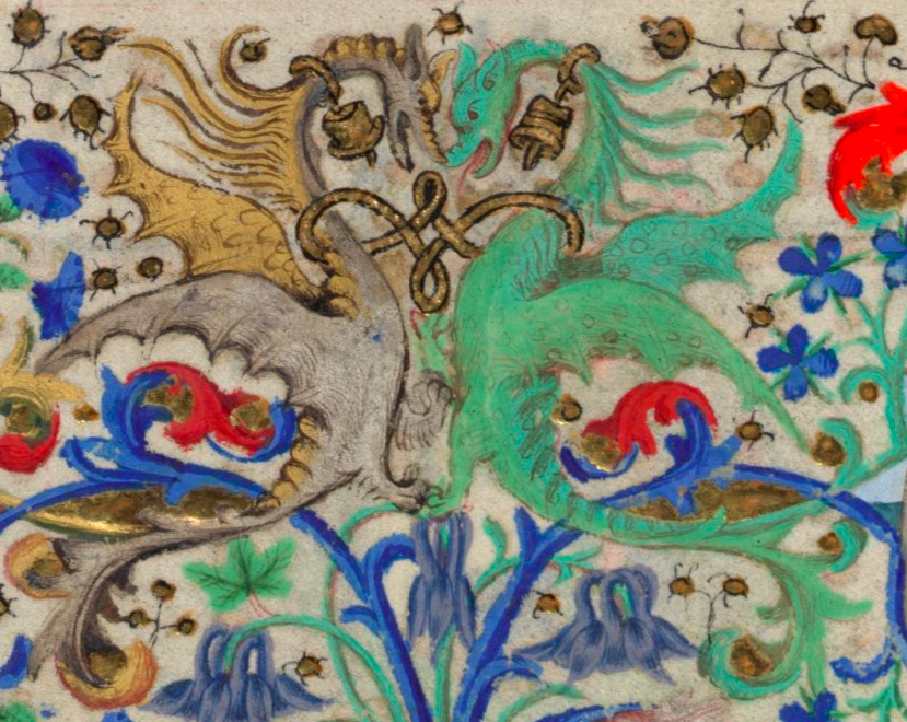 Dragons with bells on. Add MS 18850 f. 221v