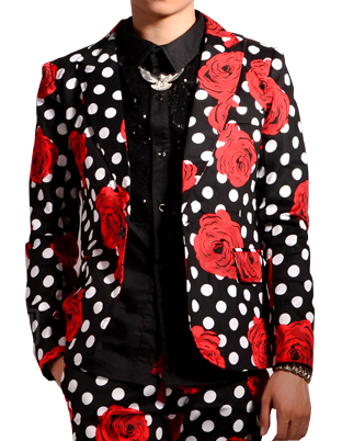 Fashionable PILAEO High End Polka Dot Blazer With Rose Floral ...