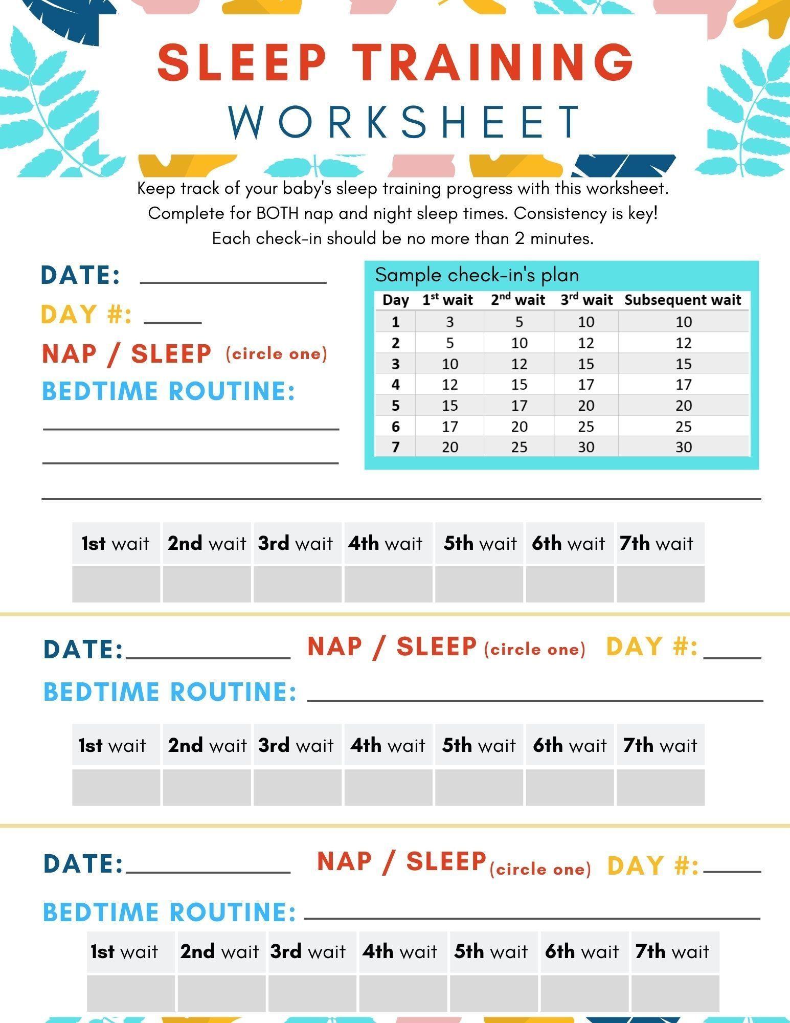 Baby Sleep Training Worksheet In