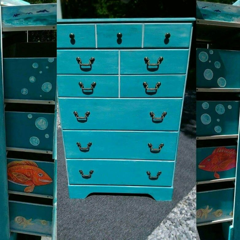 Hand Painted Dresser By Amanda Staples With Special Drawer Sides. Beachy  Bubbly Funny Fish On