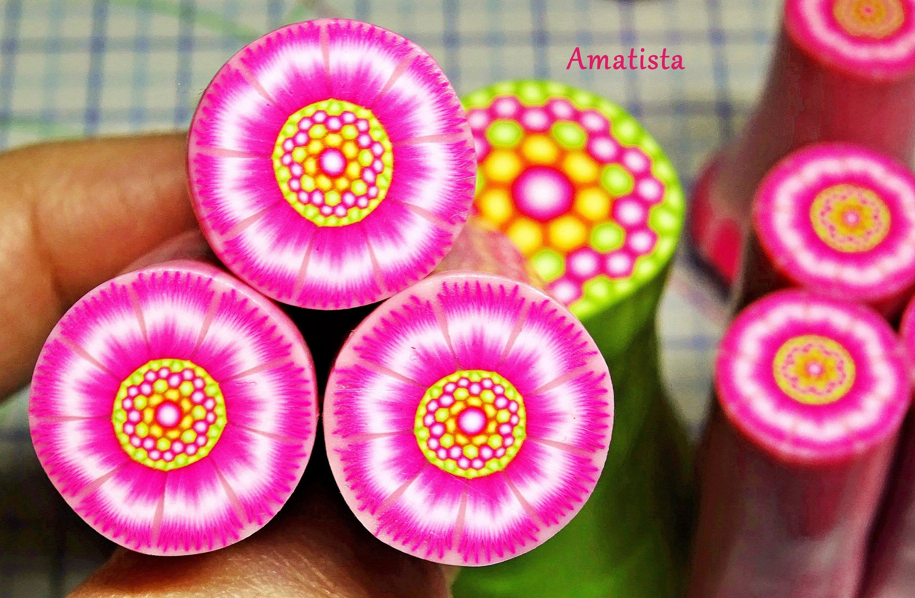Polymer clay flower cane: Raw polymer clay cane – Millefiori cane supplies – Fuchsia flower cane – Supplies for jewelers