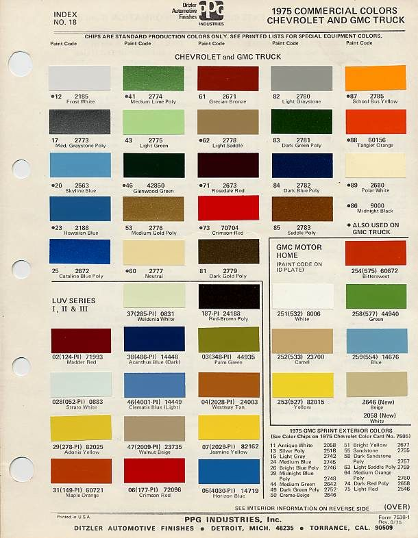 1975 C10 Stock Colors Google Search Car Paint Charts Cody James