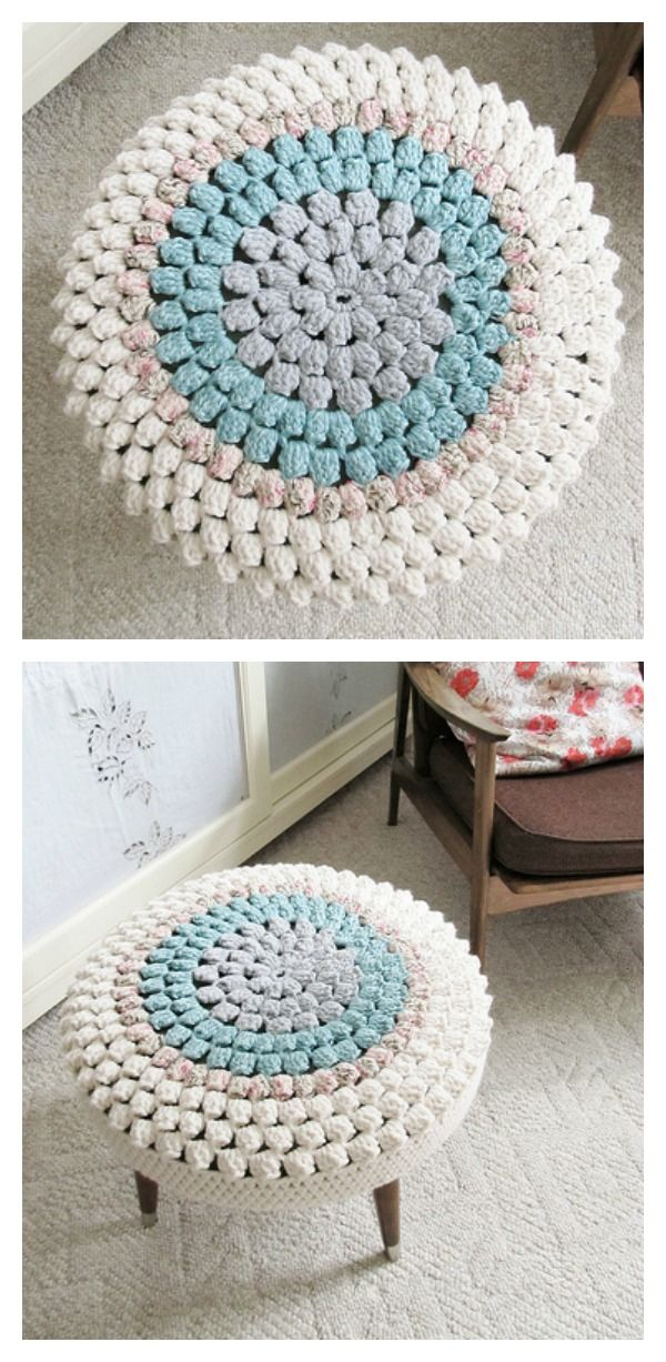 Crochet Stool Cover Free Patterns Crochet Pinterest Crochet