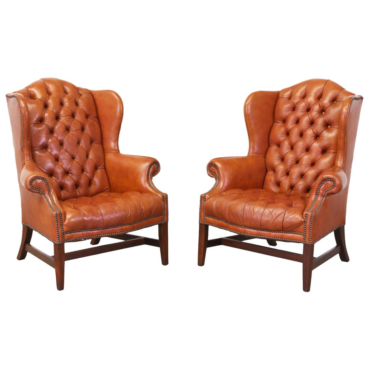 Brass Tacked Tufted Leather High Back Wing Chairs | From a ...
