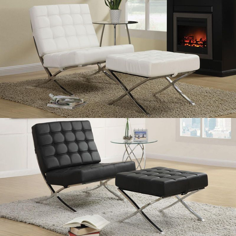 Best Contemporary X Style Chrome Legs Black White Waffle Accent 400 x 300