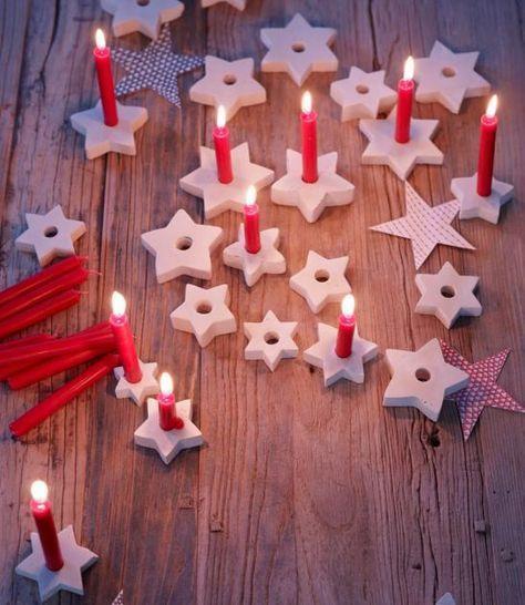 Sternen-Kerzenhalter aus Gips - Bild 2