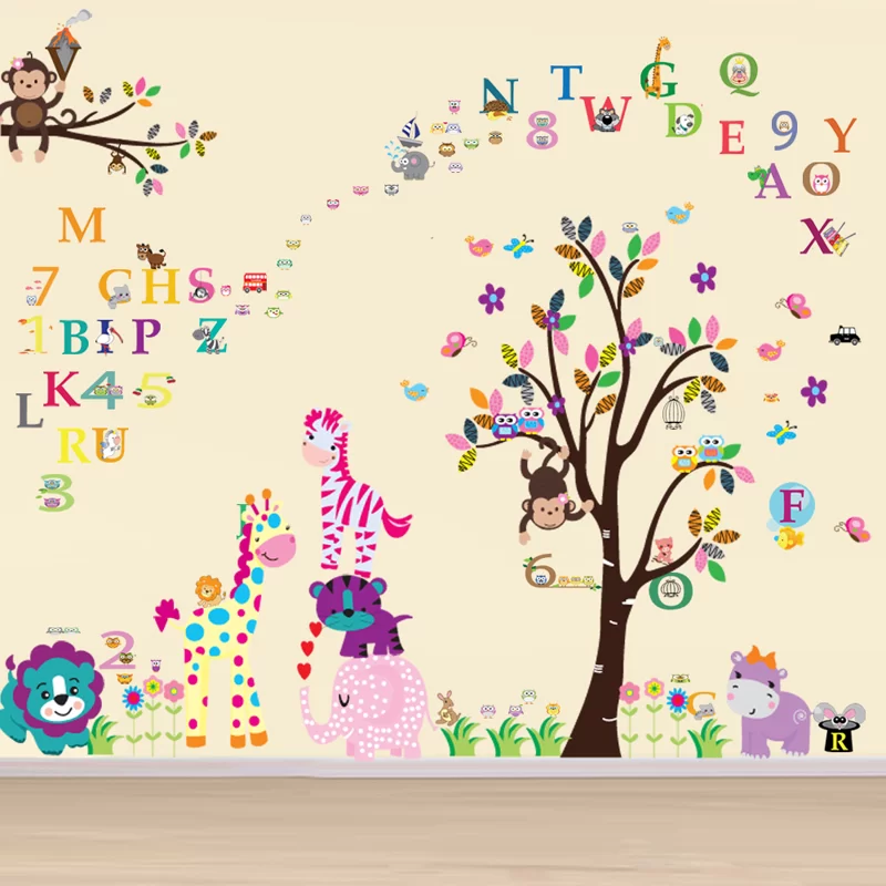 Happy Animals With Numbering And Alphabets Wall Decal In 2020