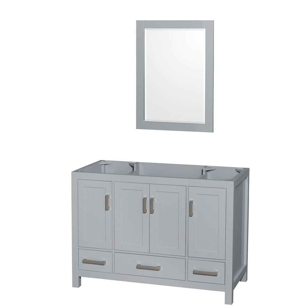 Wyndham Collection Sheffield 48 Inch Gray Single Vanity 24 Mirror No
