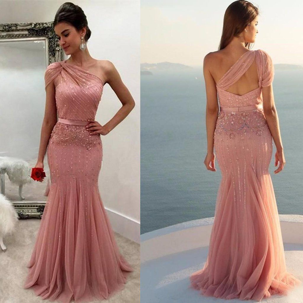 One shoulder tulle long pink prom dress beaded prom dress mermaid