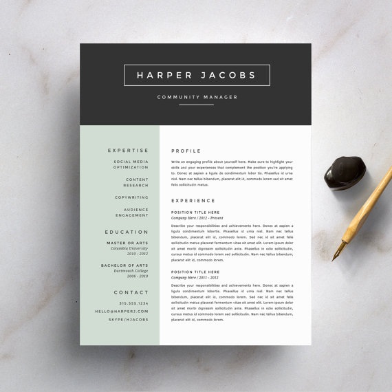 Creative Resume Template and Cover Letter Template for Word DIY