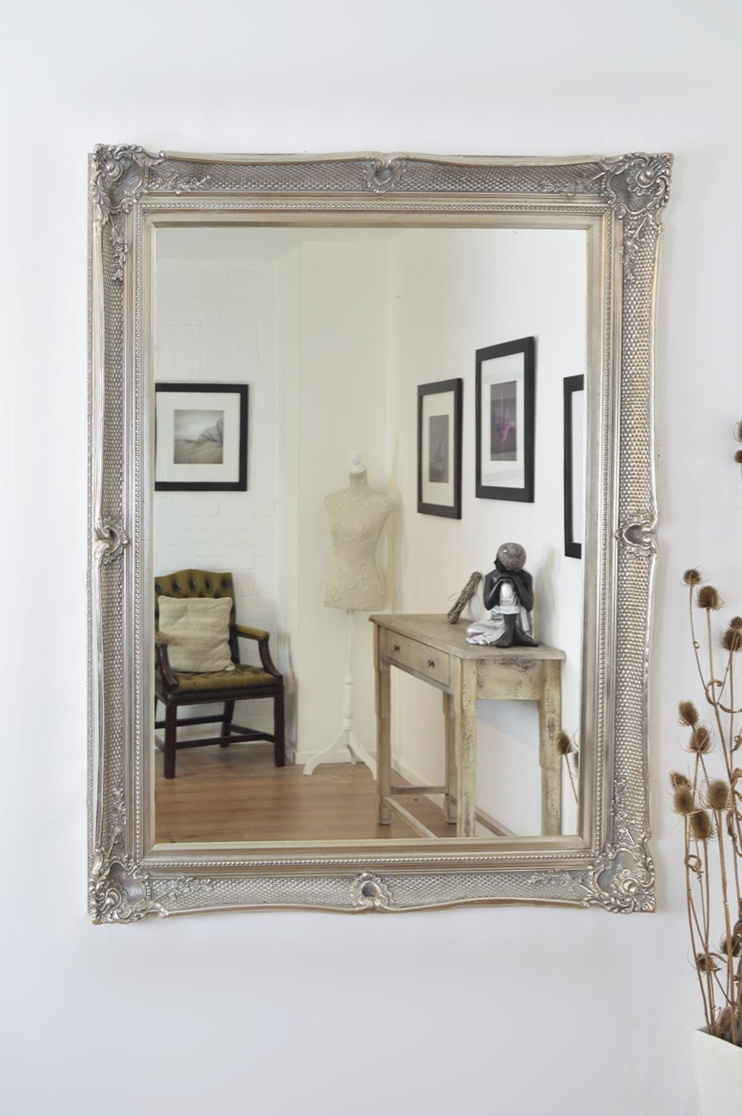 large silver wall mirror silver metal large silver ornate shabby chic wall mirror 5ft 4ft 149cm 119cm 4x3 ft glass