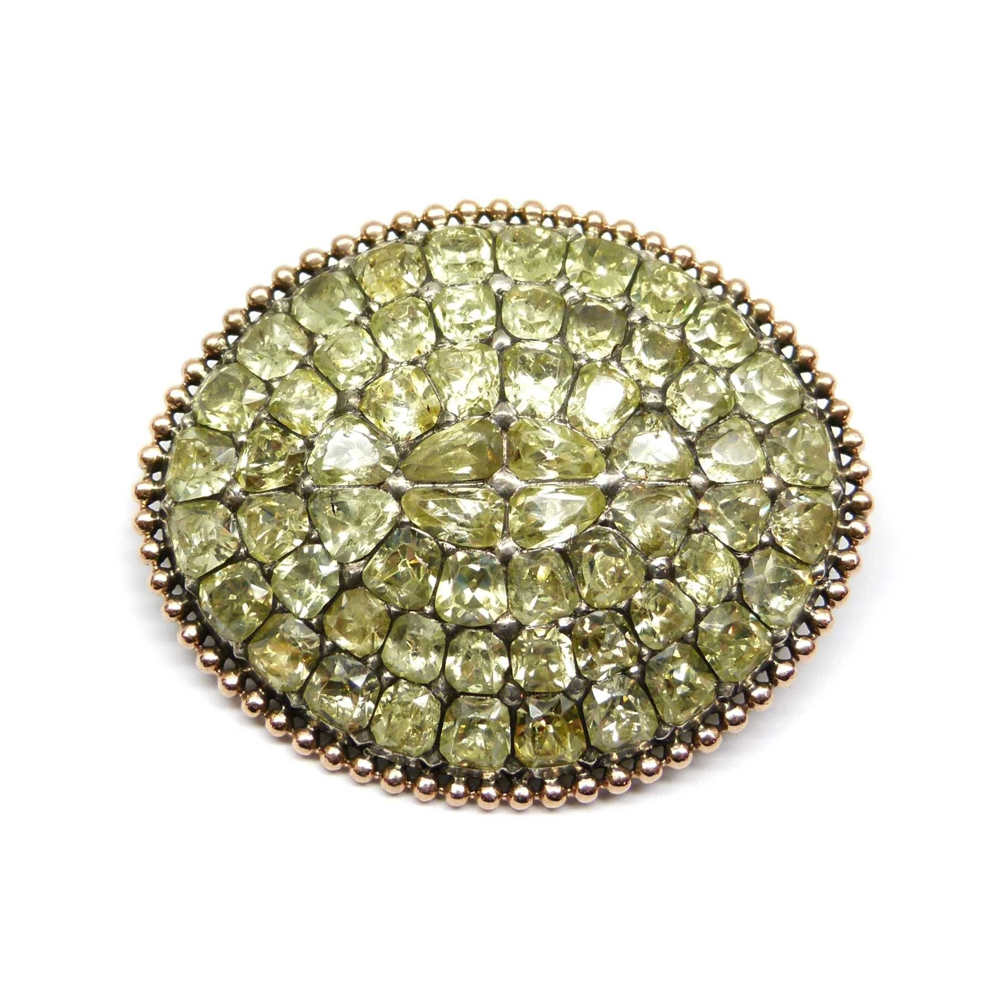- 18th century chrysolite marquise cluster brooch, Portuguese c.1780,