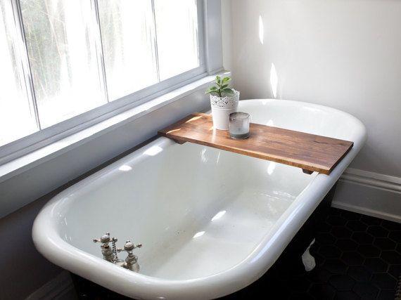 Modern Bathtub Tray Walnut Wooden Bath Tub Caddy Wooden Shelf
