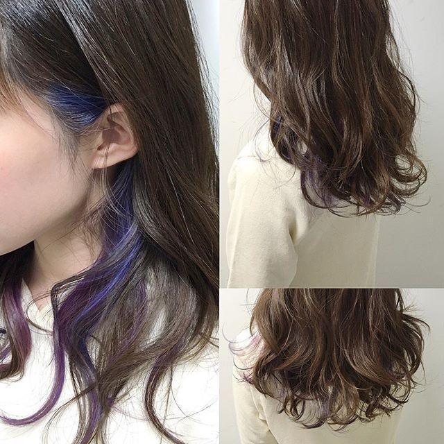 Websta Makotoinoue 先日のお客様 全体をダークトーンのネイビーブルーに インナーカラー で青と紫を交互に入れてます Milbon モードネイビー ブルージュ ダブルカラー