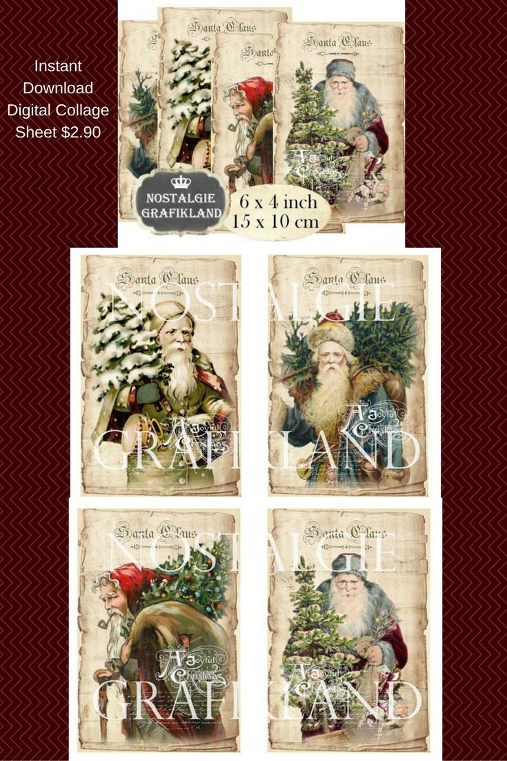 Vintage Santa Clause Digital Collage Instant Download #christmas #etsy #ad