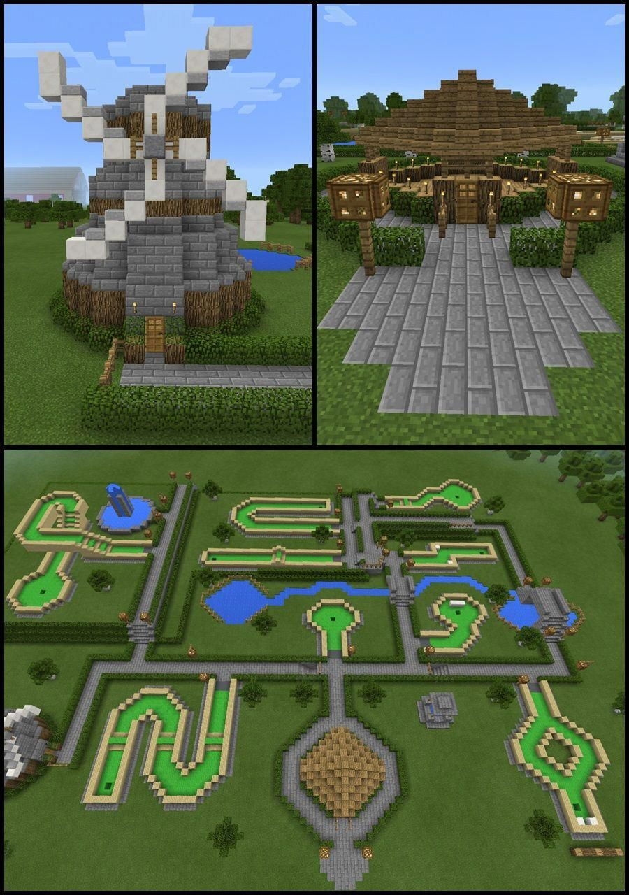 Minecraft Windmill Mini Golf Course Water Fountain Landscape