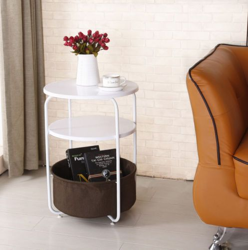 White-Cute-Round-Side-Corner-End-Table-Living-Room-Wood ...