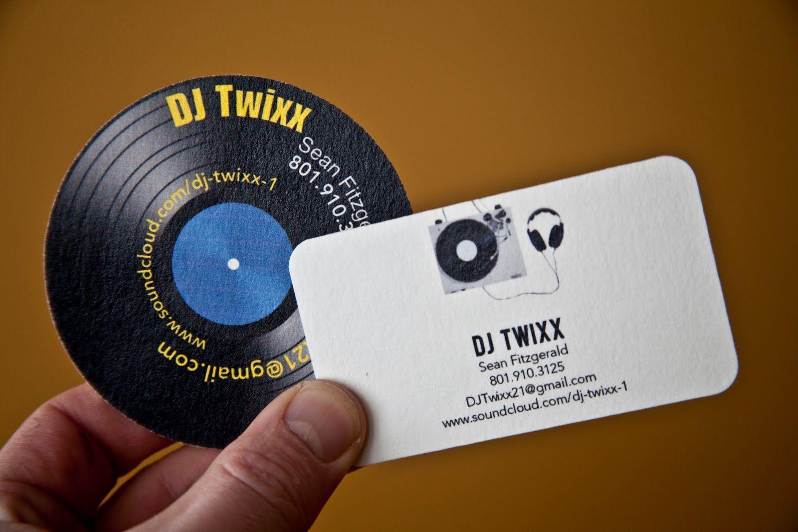 Business Card Design - turntable shape | DJ Champagne Branding Board ...