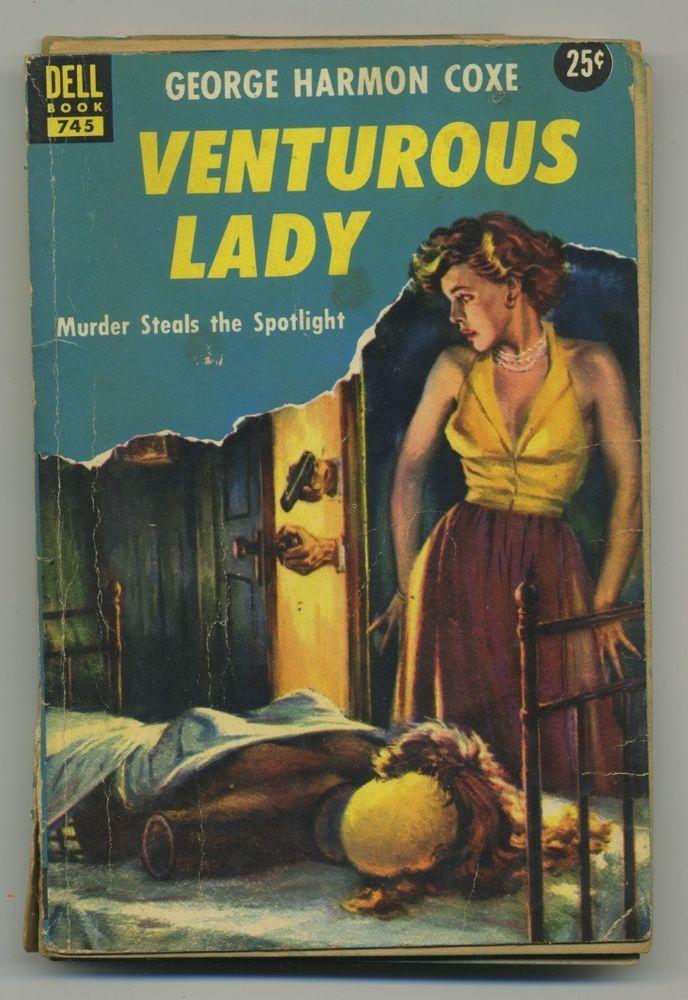 pulp book novel Venturous Lady pin up girl art cover vtg murder fiction #vintage #pulp #book #novel #fiction #art #pinup #exploitation