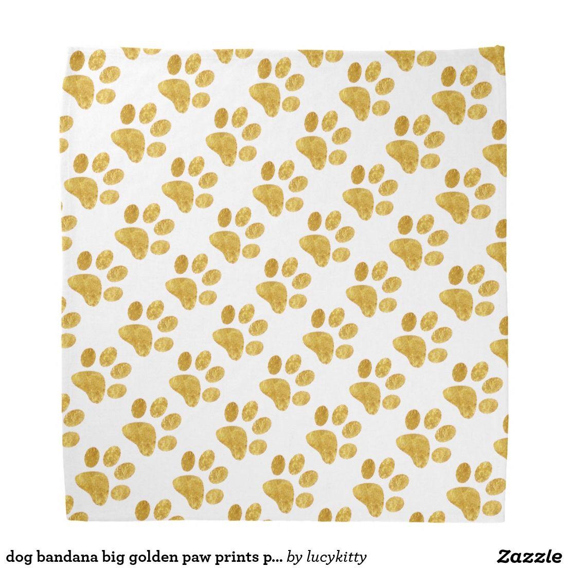 dog bandana big golden paw prints pattern