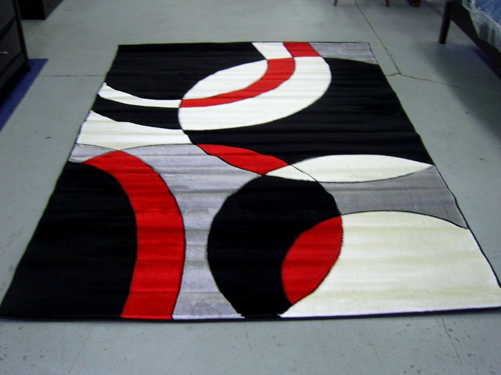Modern Red Black White Pile Cut Design 5x8 Area Rug Carpet NEW
