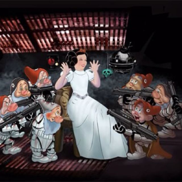 Snow white disney and starwars art all in one
