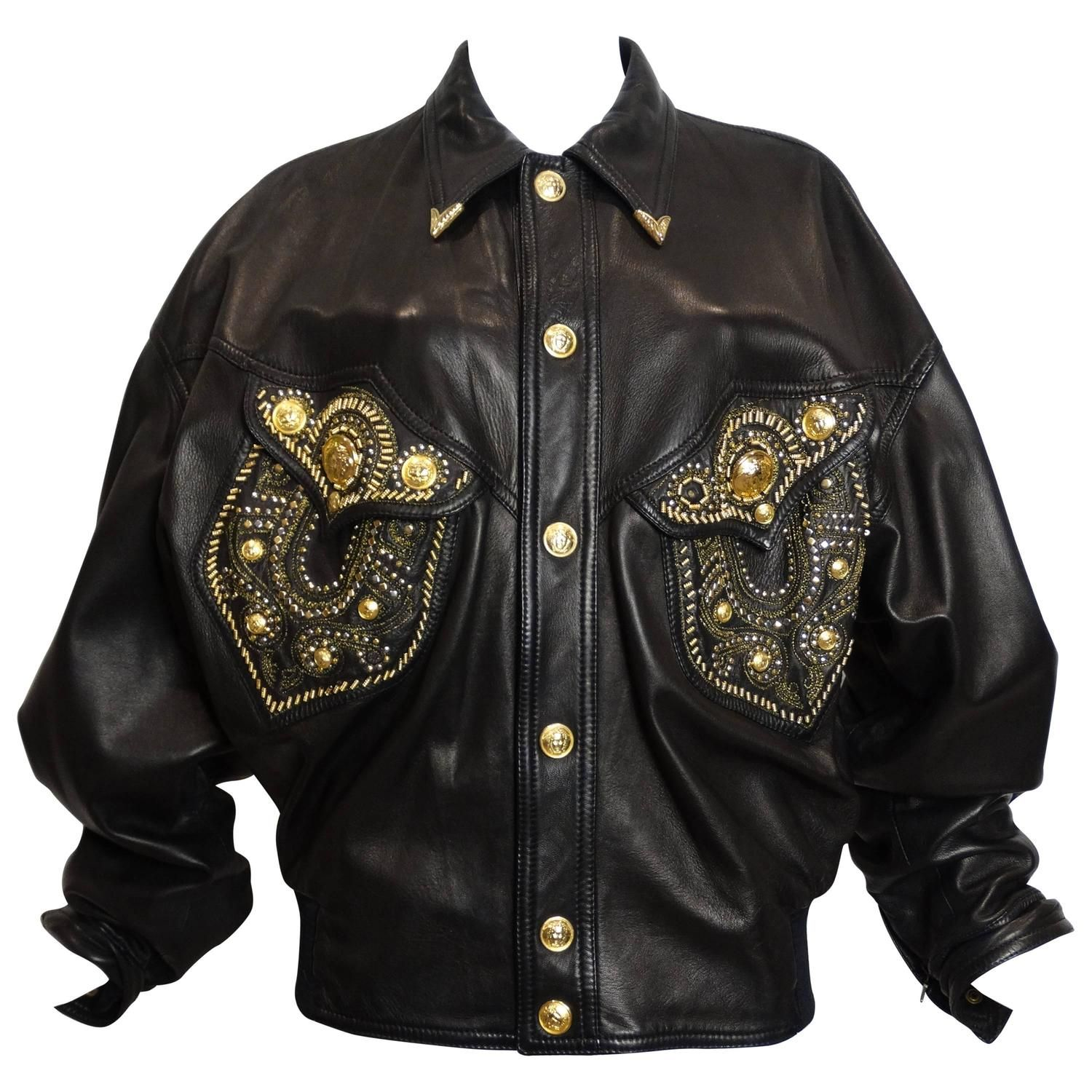 1990s Gianni Versace Couture Motorcycle Jacket Versace Couture Gianni Versace Versace Jacket