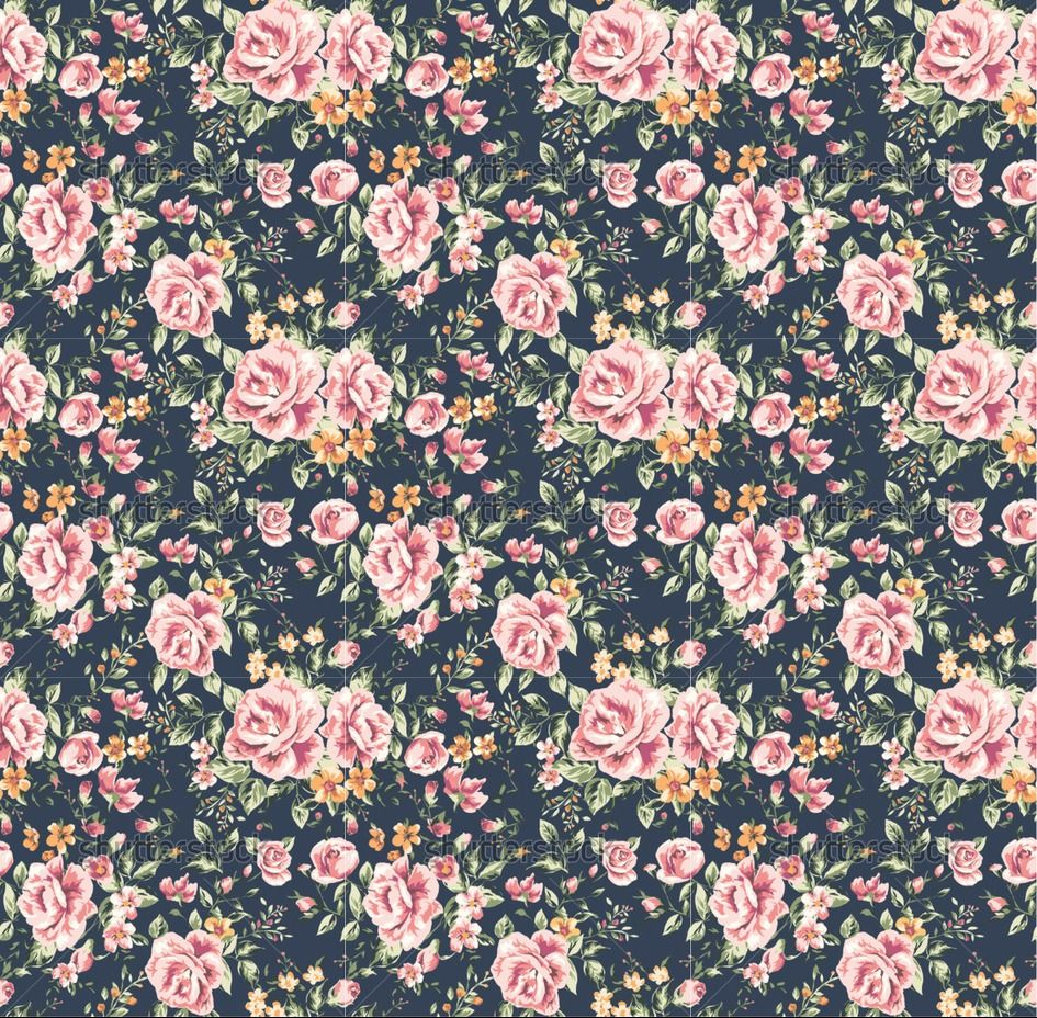 Seamless vintage flower pattern on navy background ...