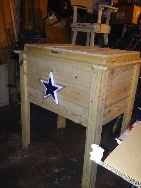 Dallas Cowboys Wooden Ice Chest Made Of Recycled Wood Wooden Ice Chest Recycled Wood Wooden