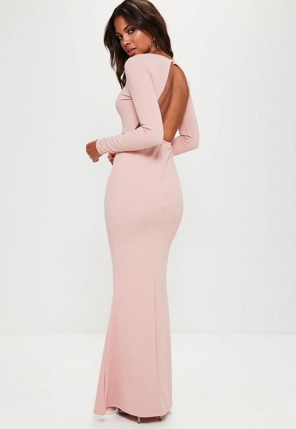 Be a total show-stopper in this pink maxi dress, with long sleeves ...