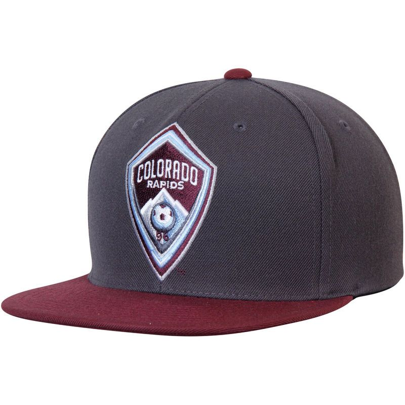 Colorado Rapids Mitchell & Ness XL Logo Two-Tone Snapback Adjustable Hat - Anthracite/Burgundy