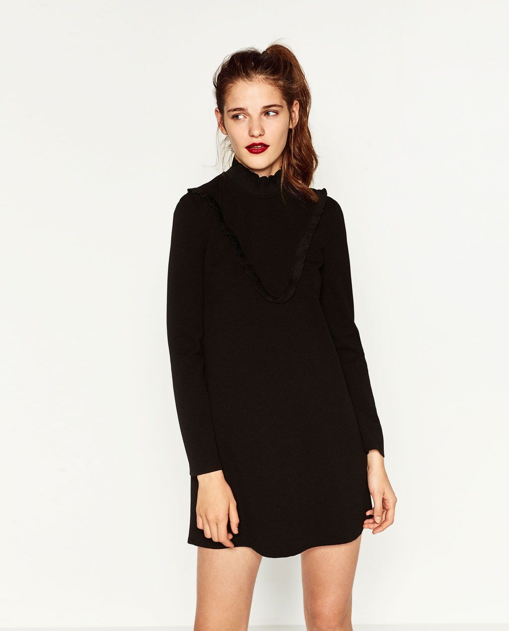 ddb02af6 Image 2 of DRESS WITH CHEST FRILL from Zara | Style | Zara black ...