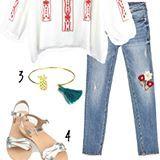 Hippie-Look: Bestickte Jeans sind super, aber wie kombiniert man die Blumenhose? 3 Mami-Looks mit Blumenhose und jeder Menge Hippie-Feeling jetzt online www.cappumum.com