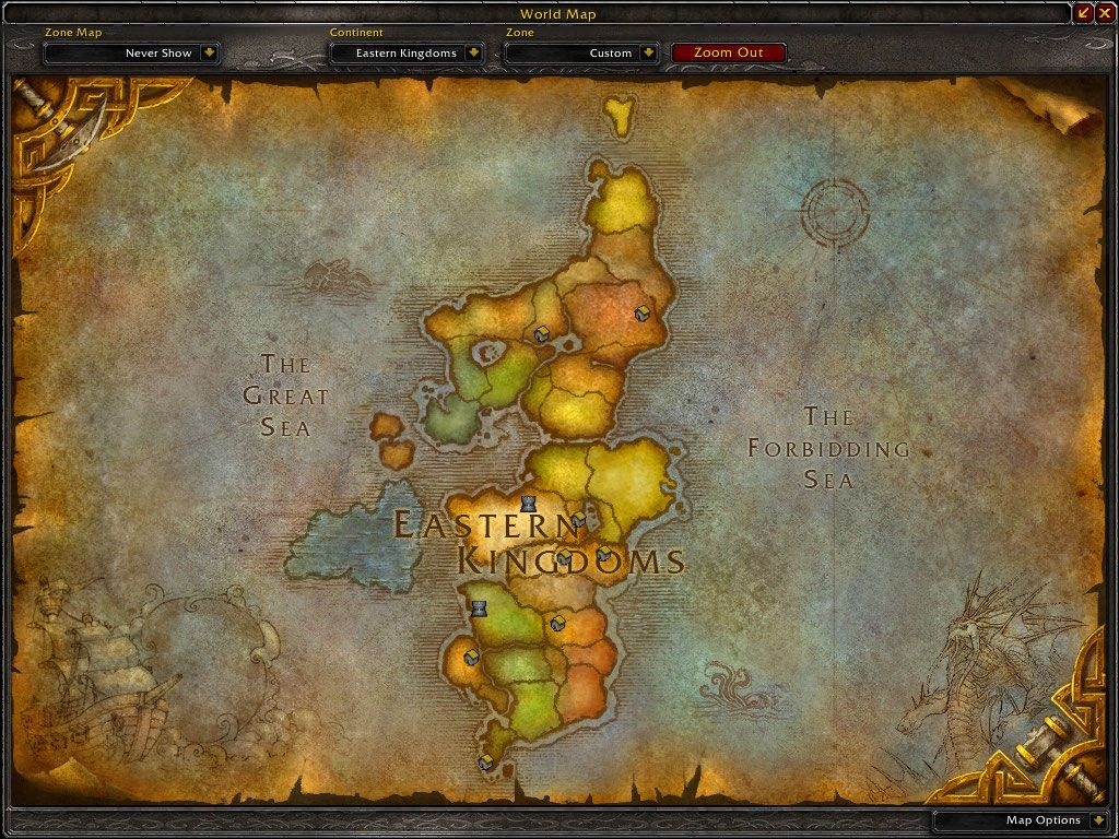 map of the Eastern Kingdoms, the eastern continent in Azeroth ...