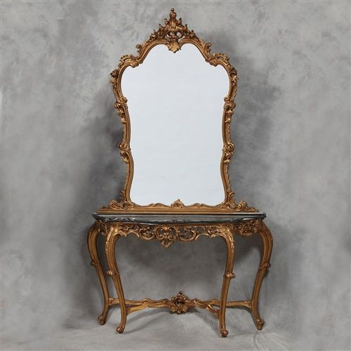Genial French Rococo Style Black Marble And Antique Gold Large Console Table/Mirror  Combination