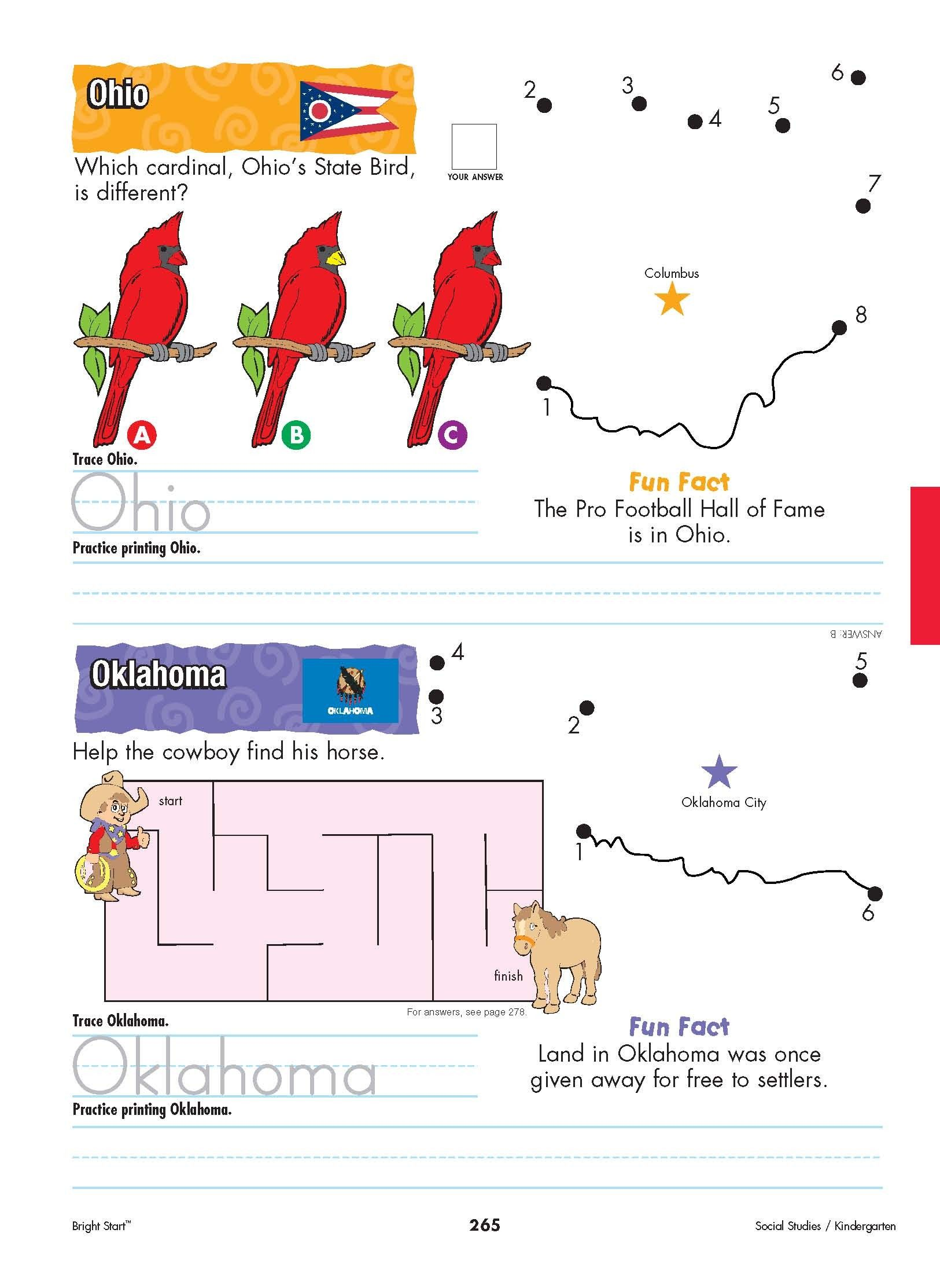 Ohio And Oklahoma Your Kindergartener Can Practice