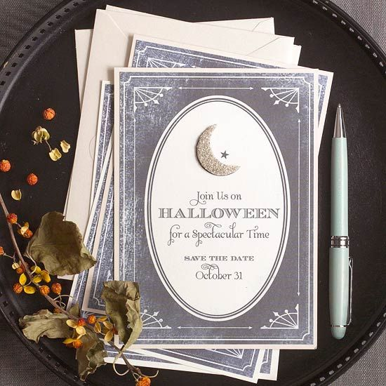 Welcome your friends and family to your next Halloween party with these easy-to-create invitations: http://www.bhg.com/halloween/parties/elegant-evening-halloween-party/?socsrc=bhgpin091914halloweenpartyinvites&page=2