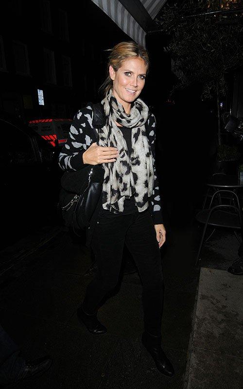 Heidi Klum wearing Theodora & Callum Abstract Leopard Scarf
