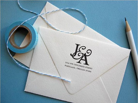 Custom Return Address Stamp with initials for by yellowfishpaperie, $31.50