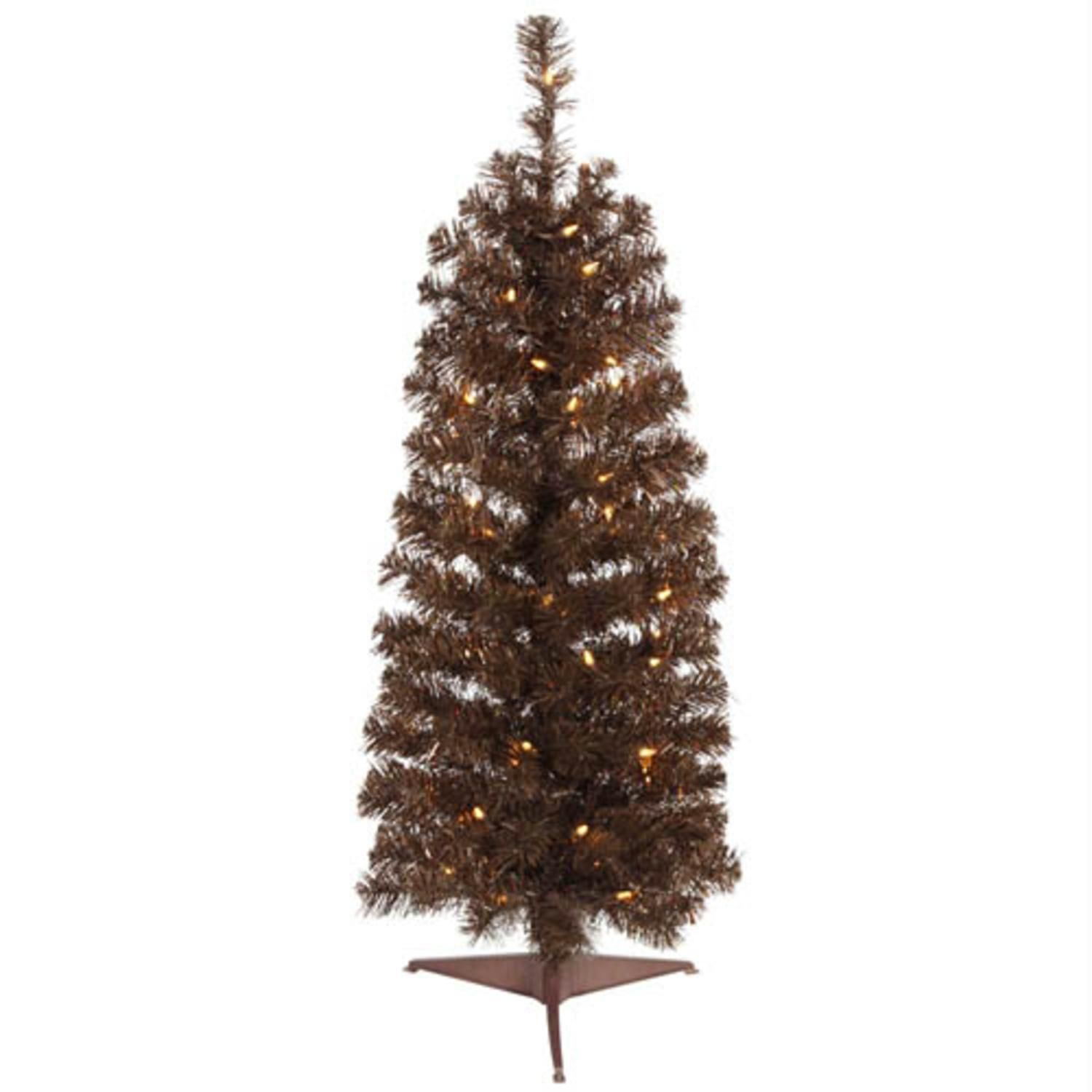 45 Pre Lit Mocha Brown Artificial Pencil Tinsel Christmas Tree
