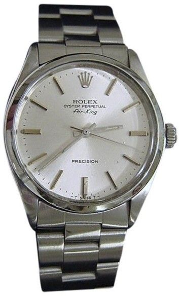a58b77df2966 Rolex Air King 5500 Stainless Steel Precision Oyster Band Silver Dial 34mm  Mens Watch