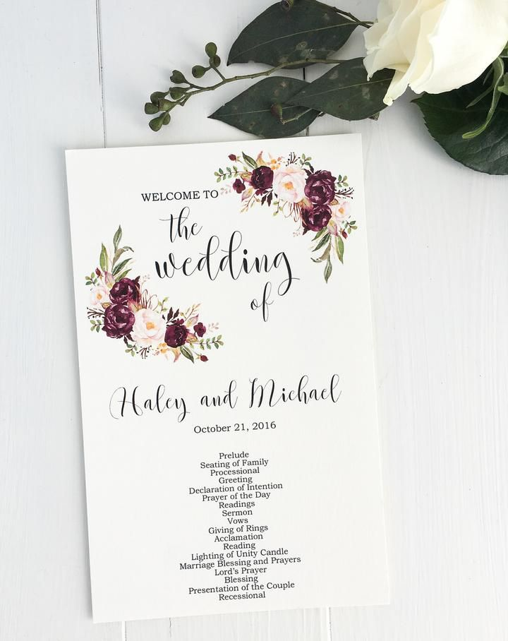 Marsala Wedding Program Love Of Creating Designs Pinterest   Wedding  Program Inclusions
