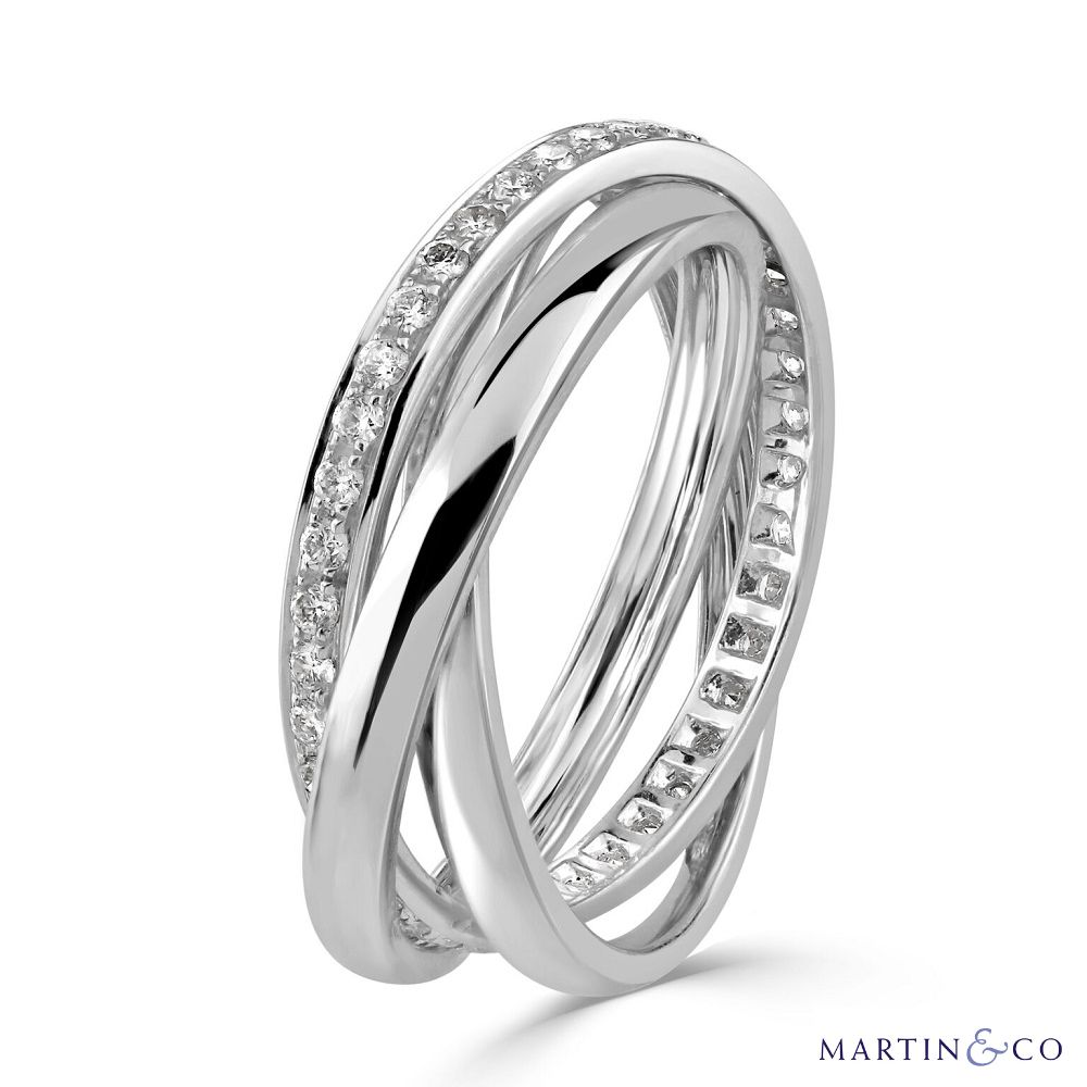 18ct White Gold Diamond Russian Wedding Ring Martin Co Jewellers Cheltenham In 2020 Russian Wedding Ring Rings Dress Rings