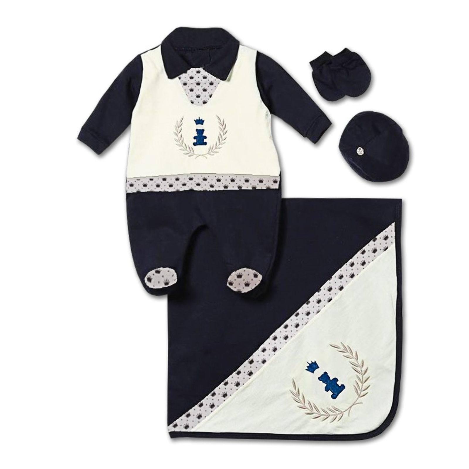 Saída Maternidade Padroeira Baby Realeza Luxo Azul Marinho ... 76843e1111b