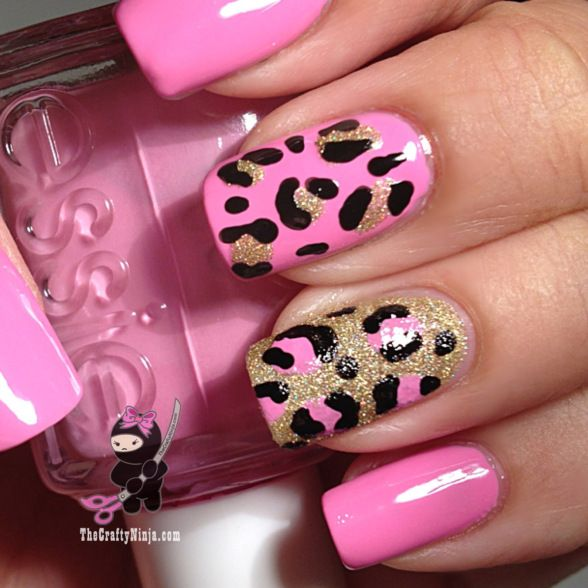 Pink And Gold Leopard Nails