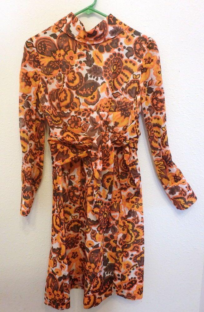 Vintage 60s Mod Orange Secretary Housewife Costume Dress Sz Small  #Handmade #Casual